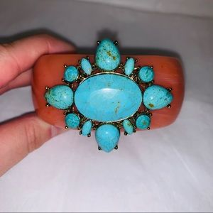 Jewelry - Faux Turquoise Embellished Thick Magnetic Bangle